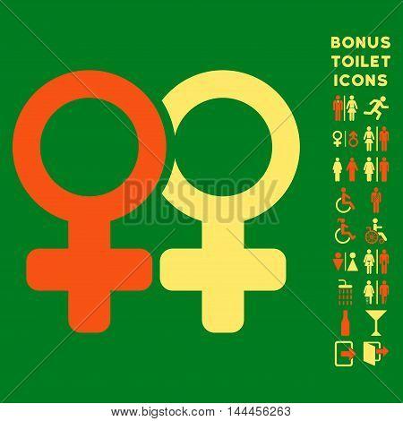 Lesbi Pair icon and bonus man and female lavatory symbols. Vector illustration style is flat iconic bicolor symbols, orange and yellow colors, green background.