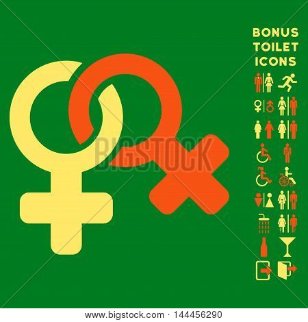 Lesbi Symbol icon and bonus male and lady restroom symbols. Vector illustration style is flat iconic bicolor symbols, orange and yellow colors, green background.