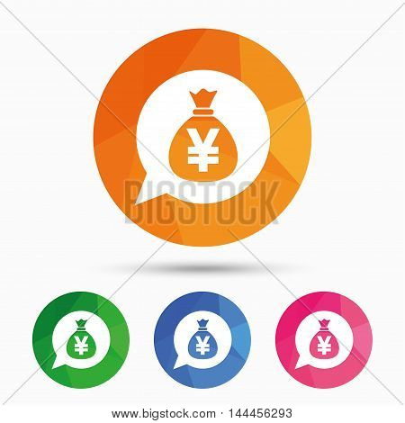 Money bag sign icon. Yen JPY currency speech bubble symbol. Triangular low poly button with flat icon. Vector