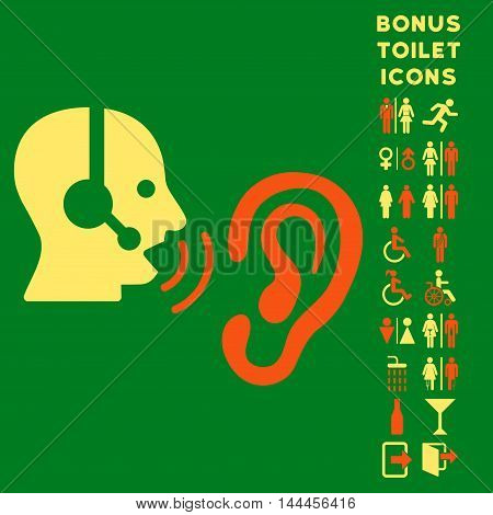 Listen Operator icon and bonus gentleman and lady toilet symbols. Vector illustration style is flat iconic bicolor symbols, orange and yellow colors, green background.
