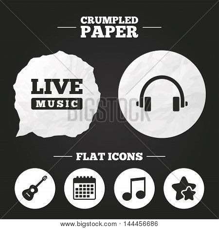 Crumpled paper speech bubble. Musical elements icons. Musical note key and Live music symbols. Headphones and acoustic guitar signs. Paper button. Vector