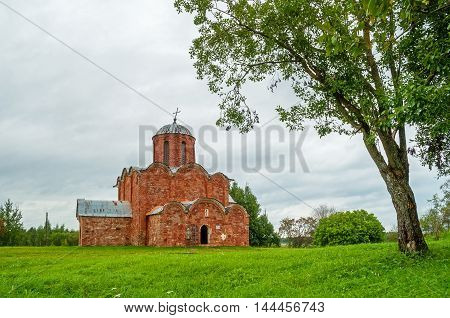 Architecture summer landscape - Church of the Transfiguration of Savior on Kovalevo in Veliky Novgorod Russia. Soft focus processing