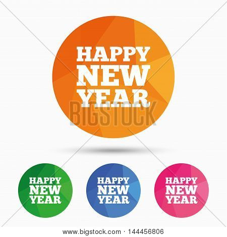 Happy new year text sign icon. Christmas symbol. Triangular low poly button with flat icon. Vector