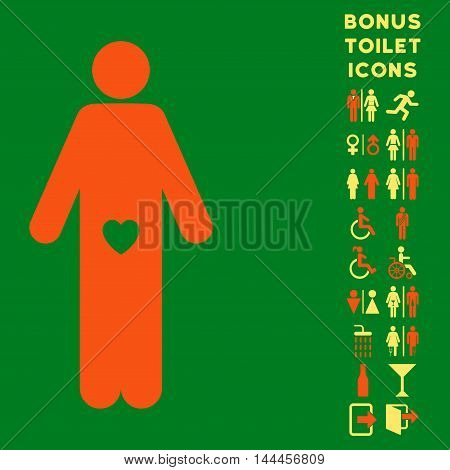 Lover Guy icon and bonus man and female toilet symbols. Vector illustration style is flat iconic bicolor symbols, orange and yellow colors, green background.