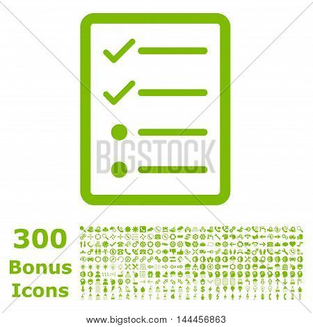 Checklist Page icon with 300 bonus icons. Vector illustration style is flat iconic symbols, eco green color, white background.