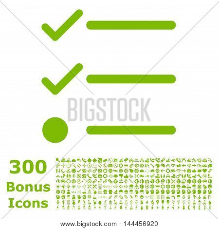 Checklist icon with 300 bonus icons. Vector illustration style is flat iconic symbols, eco green color, white background.