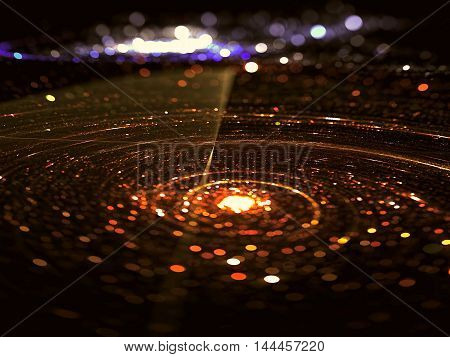 Abstract blurred backdrop - computer-generated image. Fractal background: glass surface with sircle, scratches and round bokeh.