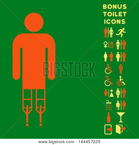 Man Crutches icon and bonus man and lady WC symbols. Vector illustration style is flat iconic bicolor symbols, orange and yellow colors, green background.