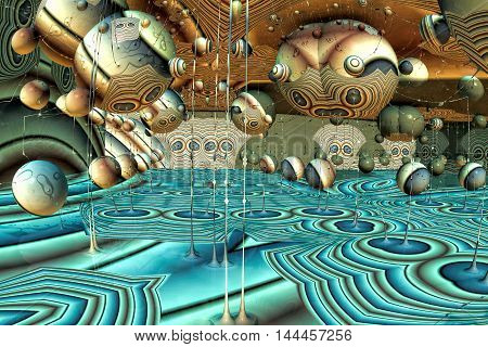 Unusual surreal background - computer-generated image. Fractal illustration - 3d render. Digital art: chaos spheres and threads. Creative desktop wallpaper or graphic design element.
