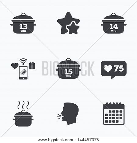 Cooking pan icons. Boil 13, 14 and 15 minutes signs. Stew food symbol. Flat talking head, calendar icons. Stars, like counter icons. Vector