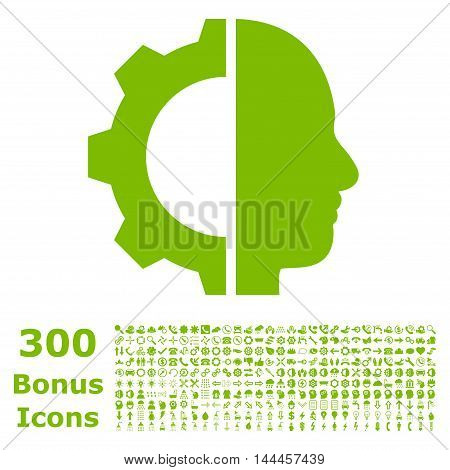Cyborg Gear icon with 300 bonus icons. Vector illustration style is flat iconic symbols, eco green color, white background.