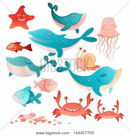 Vector illustration of a sea inhabitants set
