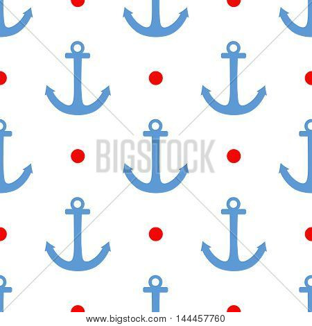 Tile sailor vector pattern with red polka dots and blue anchor on white background