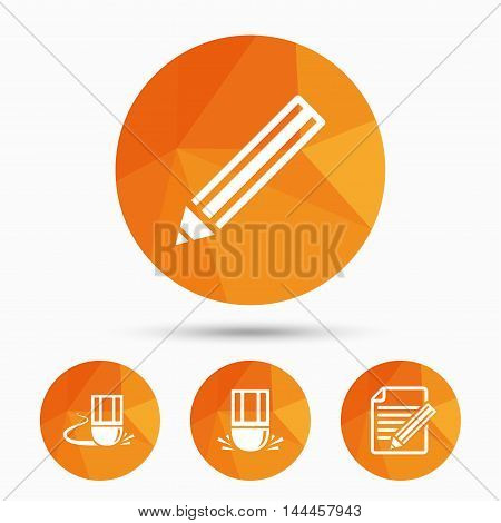 Pencil icon. Edit document file. Eraser sign. Correct drawing symbol. Triangular low poly buttons with shadow. Vector
