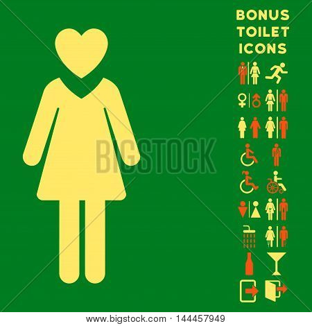 Mistress icon and bonus male and lady WC symbols. Vector illustration style is flat iconic bicolor symbols, orange and yellow colors, green background.