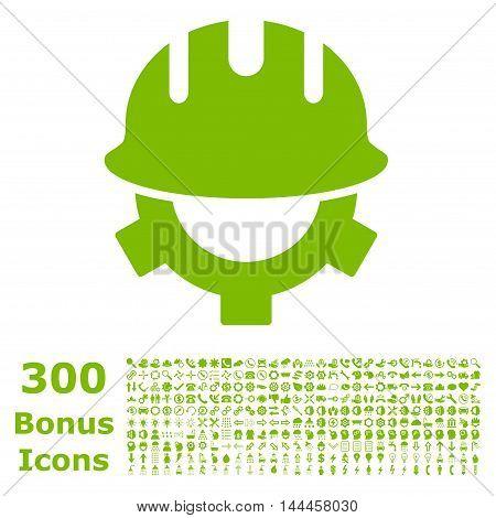Development Helmet icon with 300 bonus icons. Vector illustration style is flat iconic symbols, eco green color, white background.