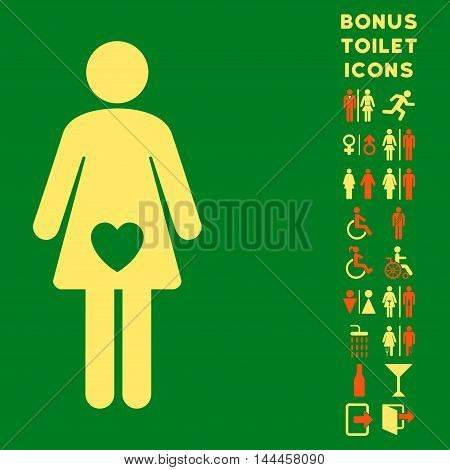 Mistress icon and bonus man and lady toilet symbols. Vector illustration style is flat iconic bicolor symbols, orange and yellow colors, green background.