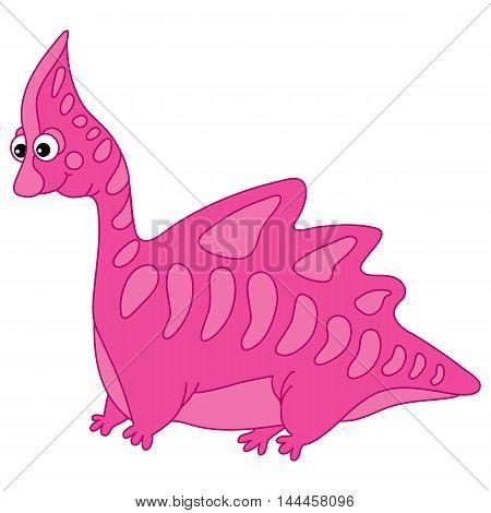 Vector cartoon pink cute dinosaur with funny face