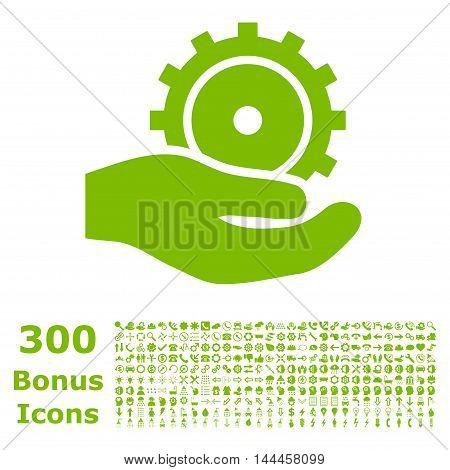 Development Service icon with 300 bonus icons. Vector illustration style is flat iconic symbols, eco green color, white background.