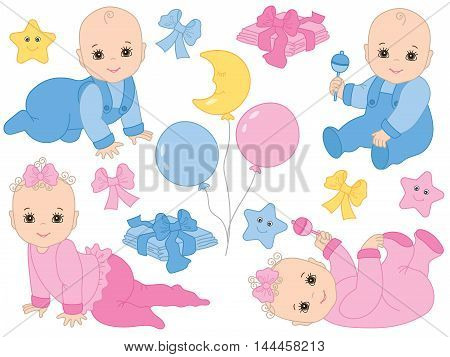 Vector infant baby boys and baby girls with balloons, rattles and toys