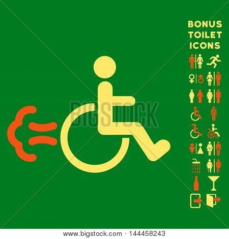 Patient Movement icon and bonus gentleman and woman toilet symbols. Vector illustration style is flat iconic bicolor symbols, orange and yellow colors, green background.
