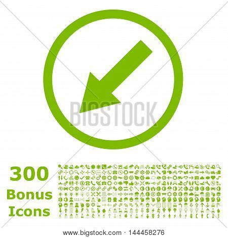 Down-Left Rounded Arrow icon with 300 bonus icons. Vector illustration style is flat iconic symbols, eco green color, white background.