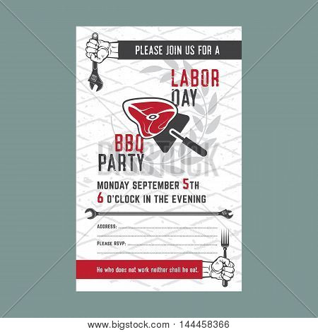 Labor Day BBQ party background. Vector illustration. Barbecue poster brochure or flyer template.