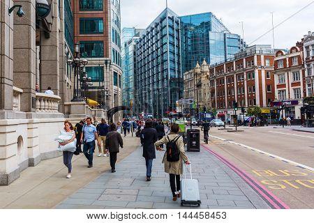 Street View At Bishopsgate In London, Uk