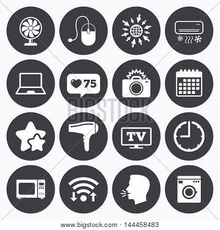 Calendar, wifi and clock symbols. Like counter, stars symbols. Home appliances, device icons. Electronics signs. Air conditioning, washing machine and ventilator symbols. Talking head, go to web symbols. Vector