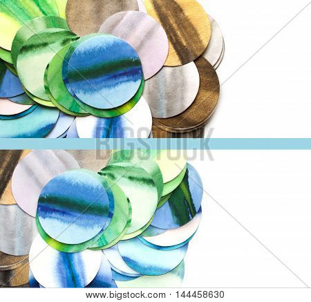 Photography of craft rounds in blue and green tones isolated on white background.