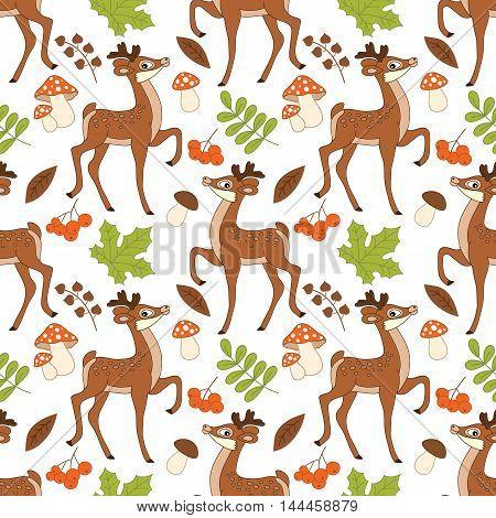 Vector seamless pattern with deers, amanita, berries and leaves