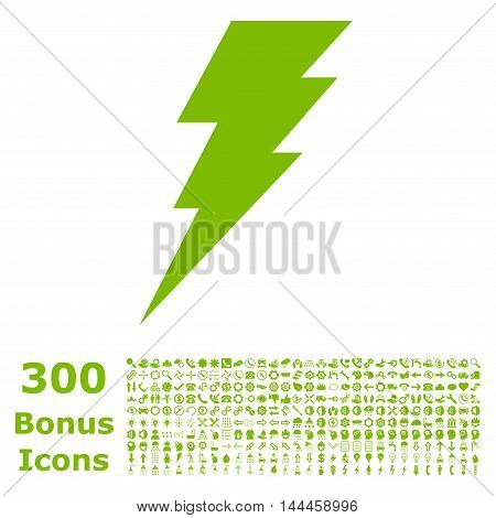 Execute icon with 300 bonus icons. Vector illustration style is flat iconic symbols, eco green color, white background.