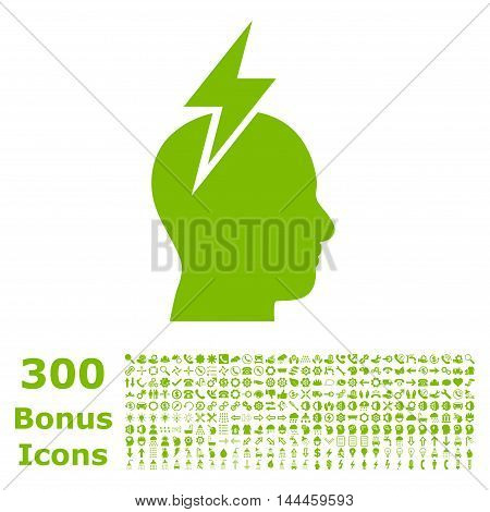 Headache icon with 300 bonus icons. Vector illustration style is flat iconic symbols, eco green color, white background.