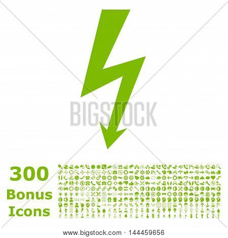 High Voltage icon with 300 bonus icons. Vector illustration style is flat iconic symbols, eco green color, white background.