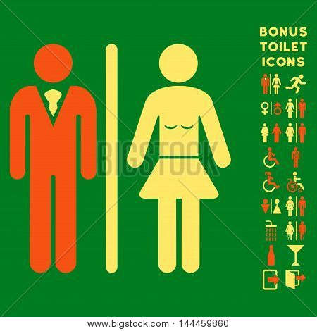 Toilet Persons icon and bonus gentleman and female toilet symbols. Vector illustration style is flat iconic bicolor symbols, orange and yellow colors, green background.