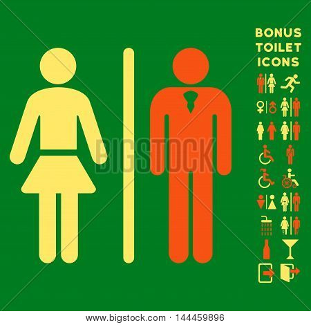 Toilet Persons icon and bonus man and female toilet symbols. Vector illustration style is flat iconic bicolor symbols, orange and yellow colors, green background.