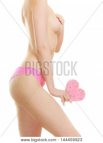 Naked Woman Holding Heart Sponge