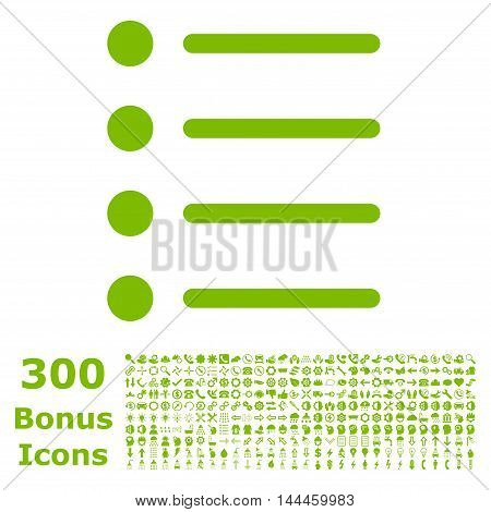 Items icon with 300 bonus icons. Vector illustration style is flat iconic symbols, eco green color, white background.
