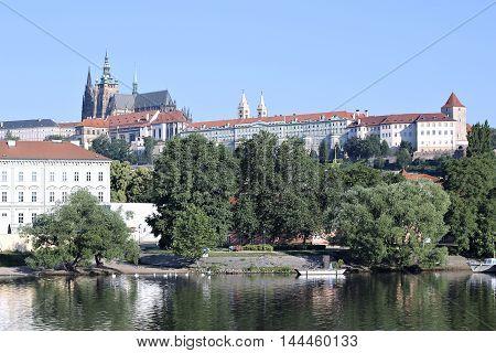 PRAGUE, CZECH REPUBLIC - JUNE 24, 2016: Prague Castle view of the river Vltava in sunny day