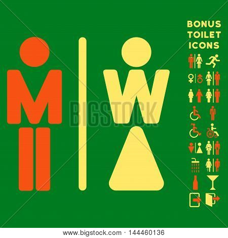 WC Persons icon and bonus gentleman and woman lavatory symbols. Vector illustration style is flat iconic bicolor symbols, orange and yellow colors, green background.