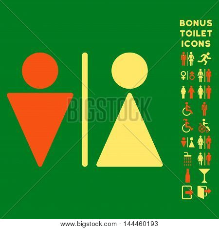 WC Persons icon and bonus male and woman toilet symbols. Vector illustration style is flat iconic bicolor symbols, orange and yellow colors, green background.