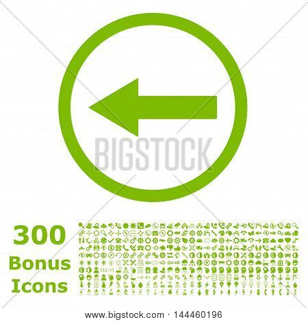 Left Rounded Arrow icon with 300 bonus icons. Vector illustration style is flat iconic symbols, eco green color, white background.