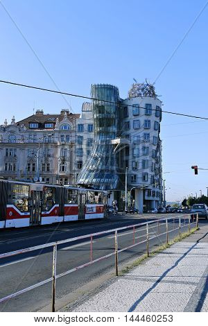 PRAGUE, CZECH REPUBLIC - JUNE 24, 2016: Dancing House (Ginger and Fred) in Prague
