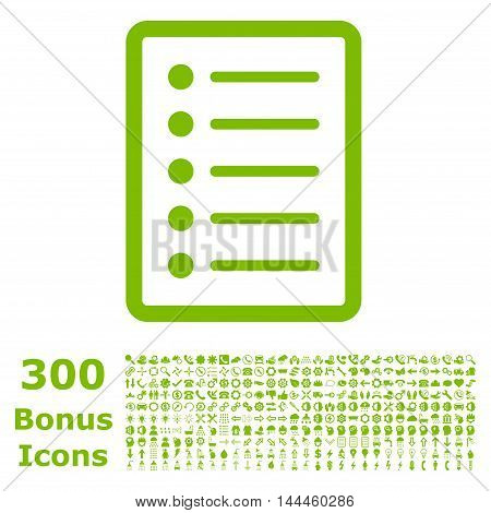 List Page icon with 300 bonus icons. Vector illustration style is flat iconic symbols, eco green color, white background.
