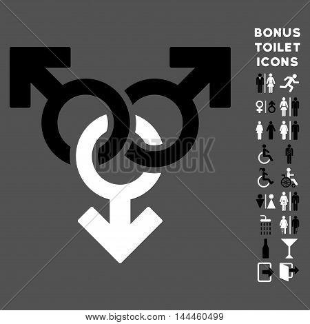 Group Gay Sex icon and bonus gentleman and female toilet symbols. Vector illustration style is flat iconic bicolor symbols, black and white colors, gray background.