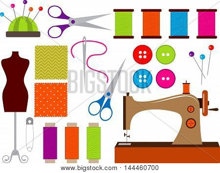 Vector colorful hand drawn sewing elements set