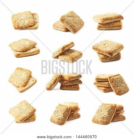White bread buns composition isolated over the white background, set of twelve different foreshortenings
