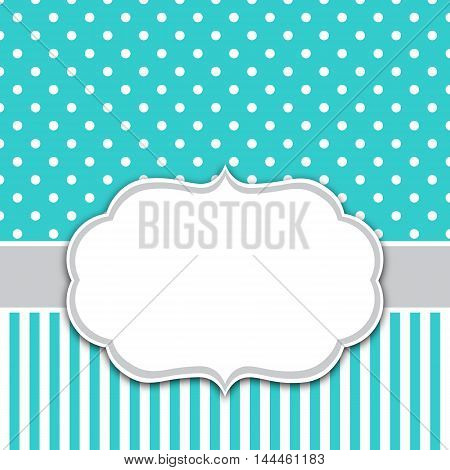Turquoise invitation card template with white frame for your text