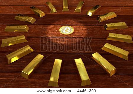 rendered gold bars in circle shape on the planks with bitcoin, 3d rendering