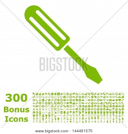 Screwdriver icon with 300 bonus icons. Vector illustration style is flat iconic symbols, eco green color, white background.